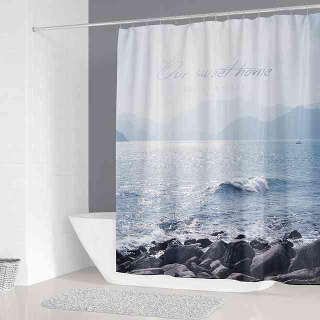 Sunny Beach Printed Fabric Shower Curtains - Waterproof Bathroom Decor