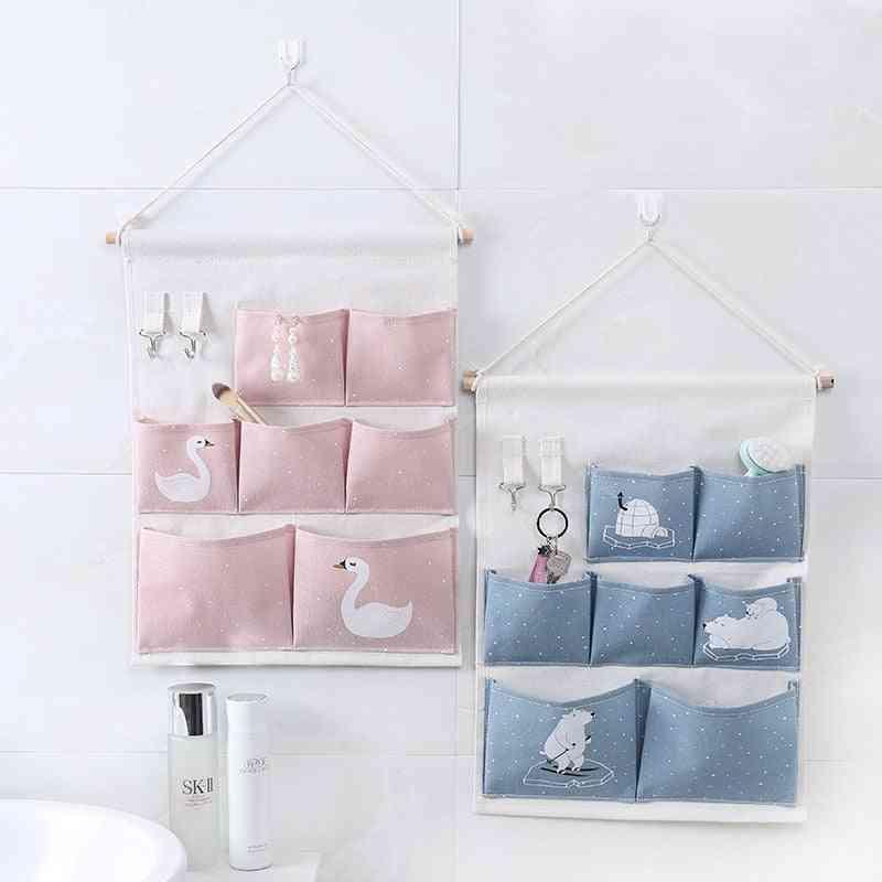 Snailhouse Printing Pockets Wall Hanging Storage Bag - Simple Bedroom Organizer