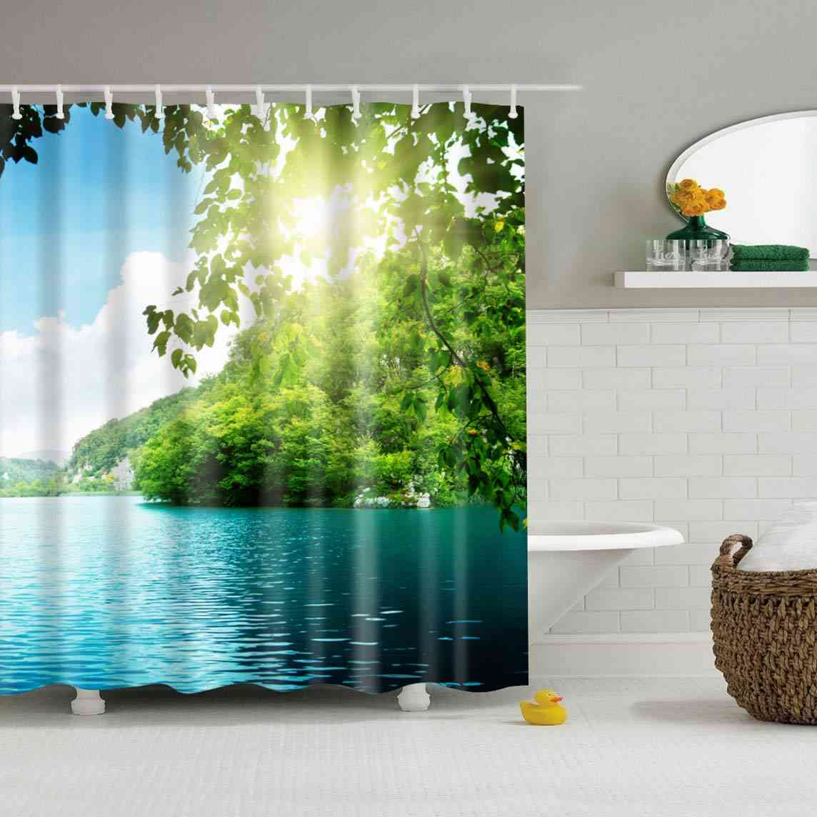 Waterproof Polyester Fabric 3d Forest Style Bath Curtain For Bathroom