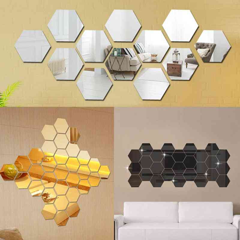 Hexagonal 3d Decorative Mirror Wall Stickers For Living Room, Restaurant