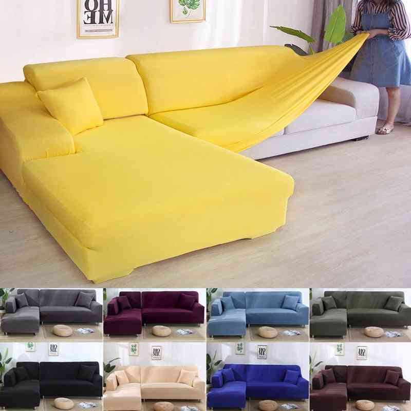 Solid Color Corner Sofa Covers For Living Room, Elastic Spandex Slipcovers Couch Cover
