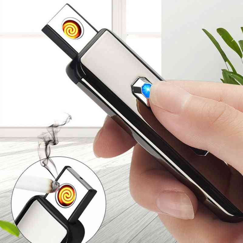 Usb Push-button Double Side Charging Electronic, Windproof Cigarette Lighter