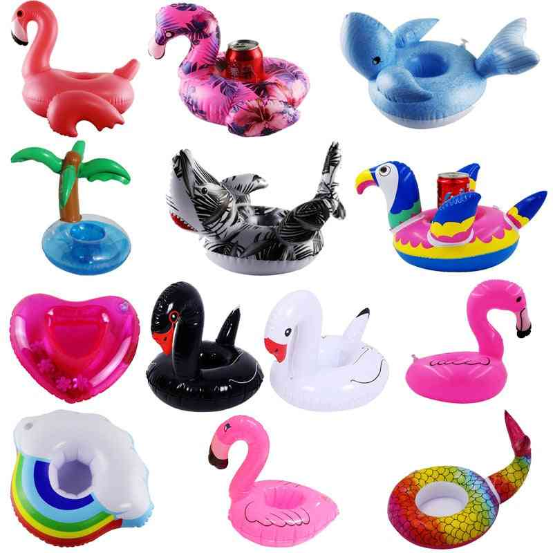 Inflatable Flamingo/donut Design Drink Cup Holders For Swimming Pool Parties