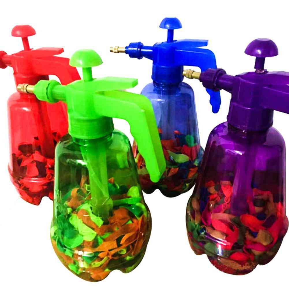 300 Pcs Innovative Water Balloon- Portable Filling Station 3 In 1 Pump Bottle Manual Water Inflation Ball Toy Balloon's