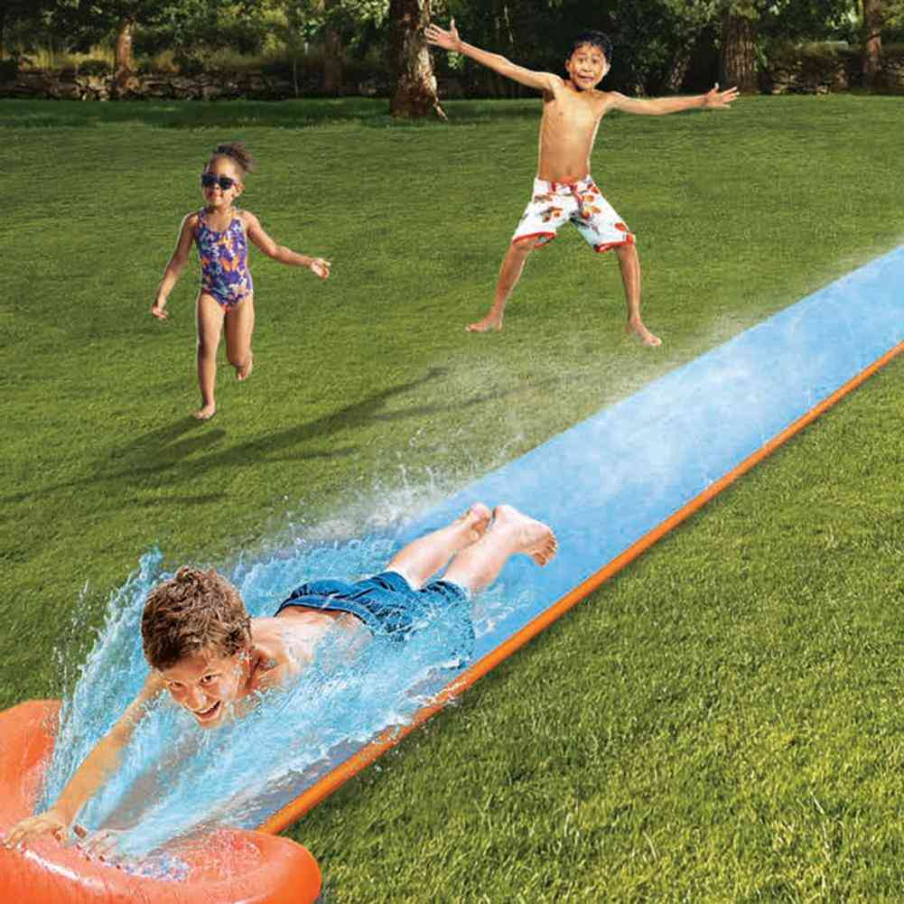 Inflatable Water Slide Racer Pool- Kids Summer Park Backyard Play Fun Outdoor Splash Slip Slide Wave Rider (blue)