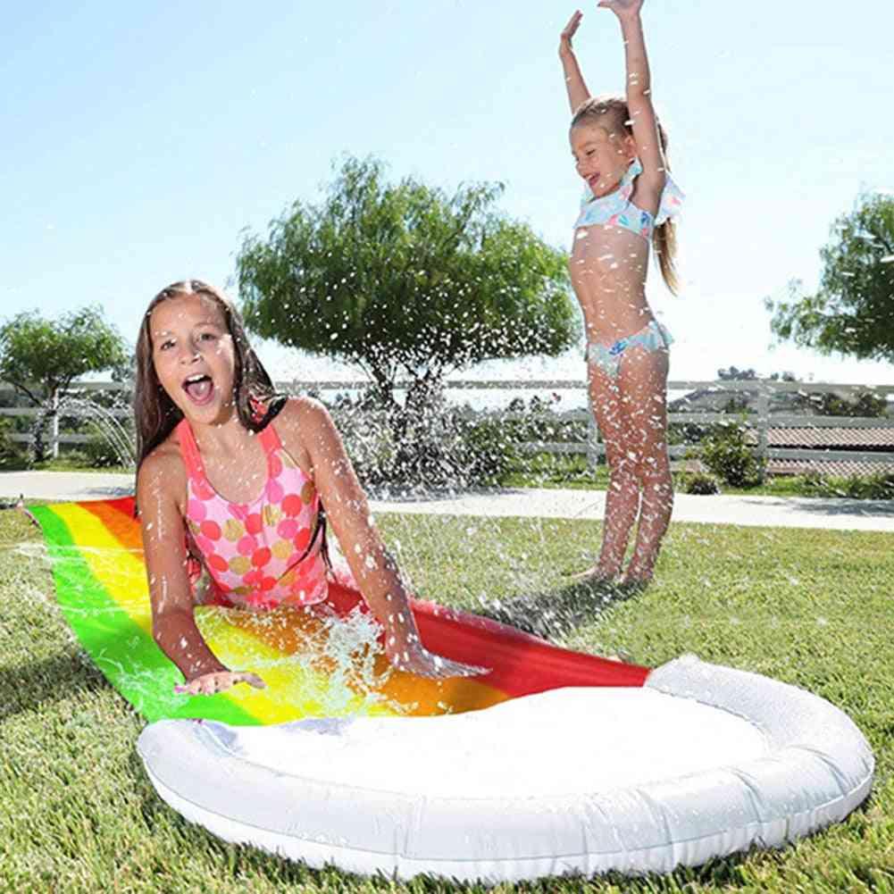Rainbow Water Slide Pools- Inflatable Sprinkler Kids / Summer Swimming Pool Pvc Outdoor Backyard Lawn Water Games Toy