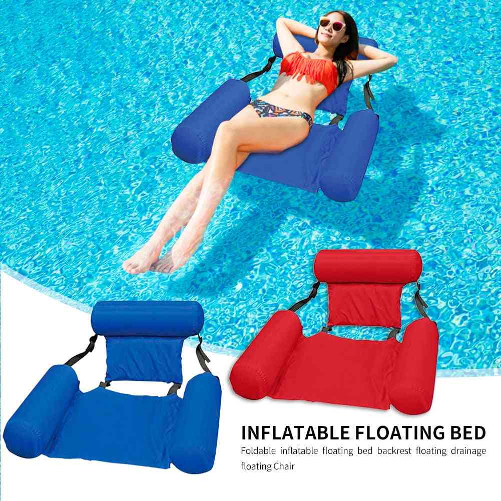 Inflatable Foldable Floating Row Backrest - Air Mattresses Bed Beach, Water Sports Lounger Float Chair Hammock Mat