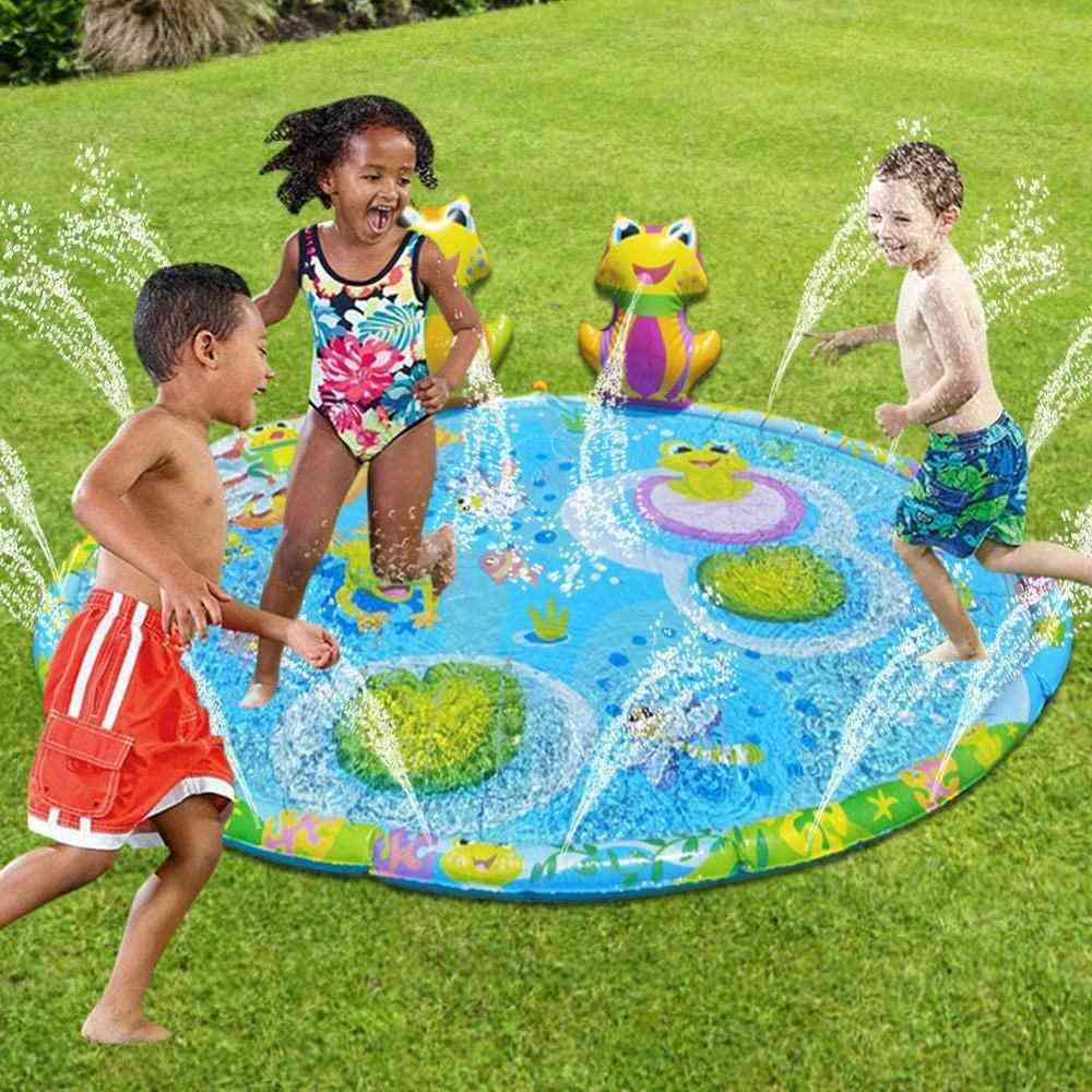 3d Frog Inflatable Water Spray Play Mat - Outdoor Lawn Games Pad Yard Sprinkler