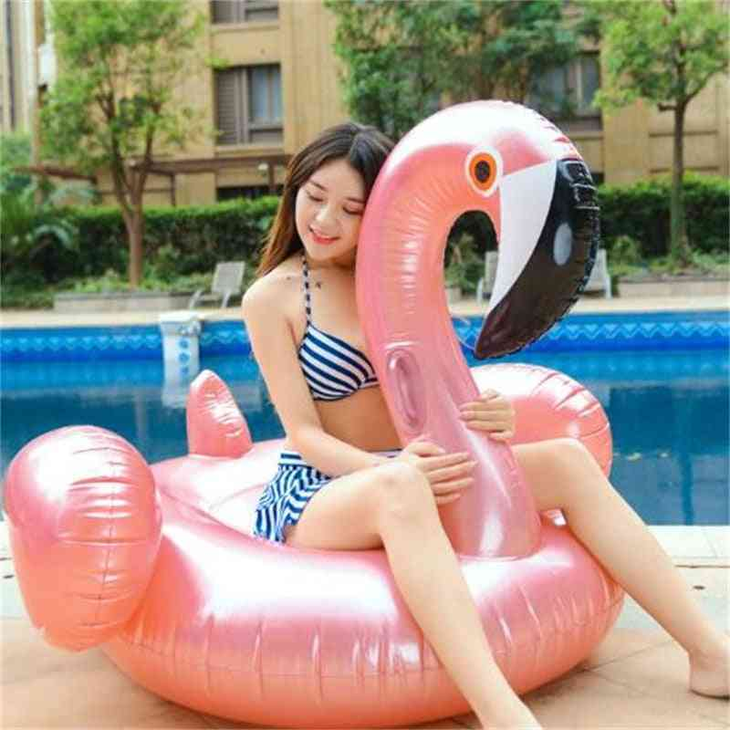 150cm Summer Inflatable Flamingos Shape Swim Pool Floats Raft Air Mattresses Swimming Fun Water Sports Beach Toy For Adult (pink)