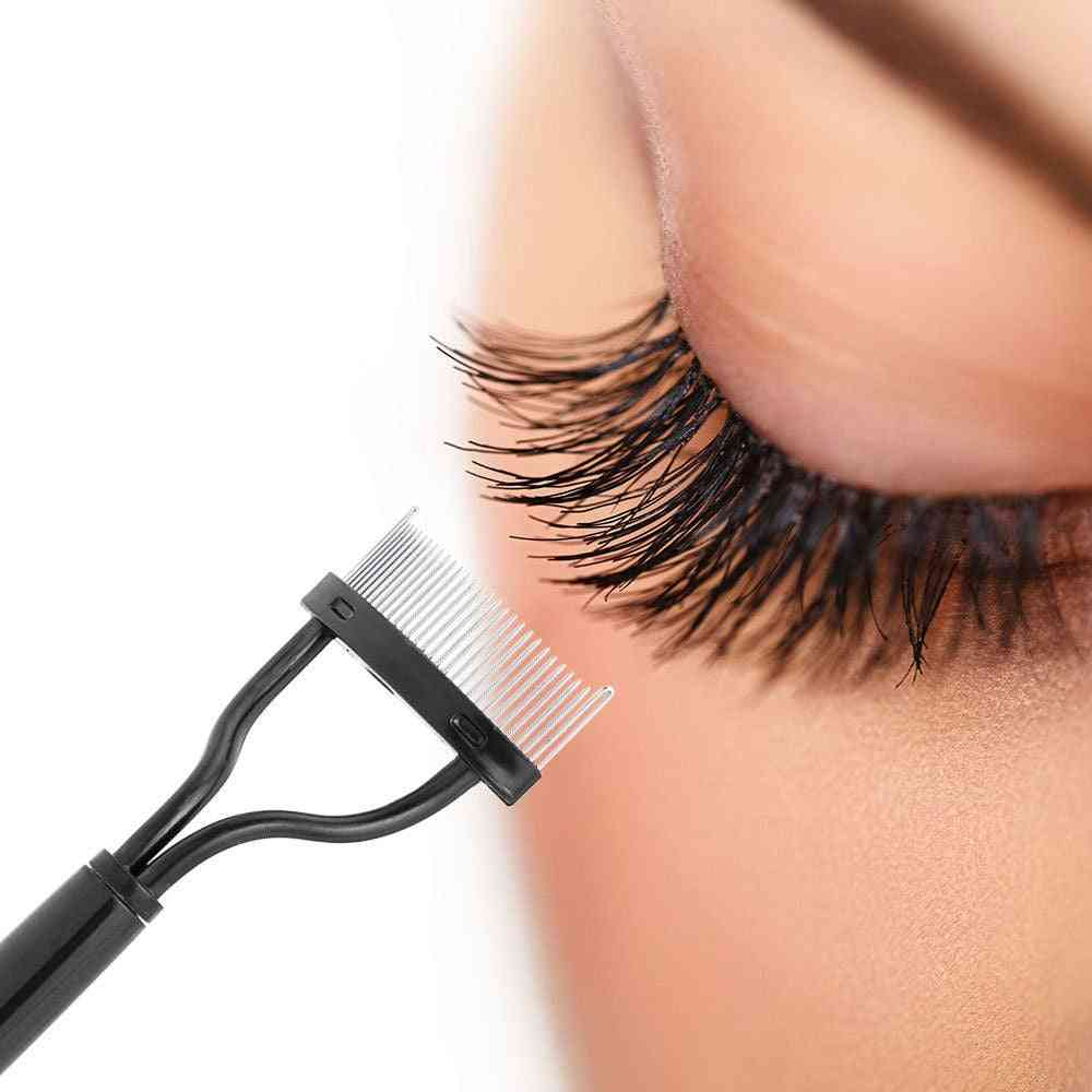 Eyelash Curler -makeup Lash Separator, Foldable Metal Eyelash Brush Comb Mascara Curl