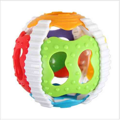 Baby Rattle Infant Sound Ball - Soft Hand Catcher Rattle Baby Hollow Grasping Ball