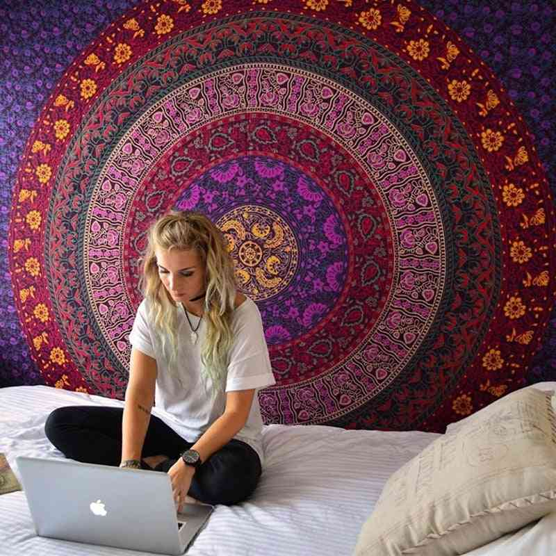 Indian Mandala Wall Hanging Sandy Beach Tapestry For Camping Tent, Travel, Mattress, Bohemian Sleeping Pads