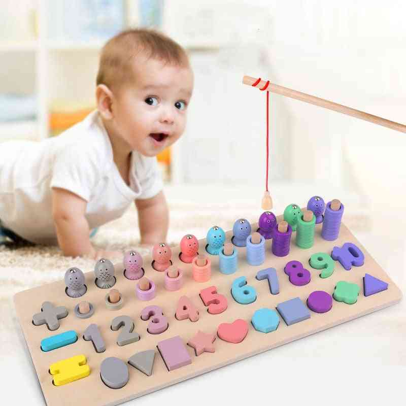Montessori Educational Wooden For Kids- Board Magnetic Math Fishing Count Numbers- Early Education Toy