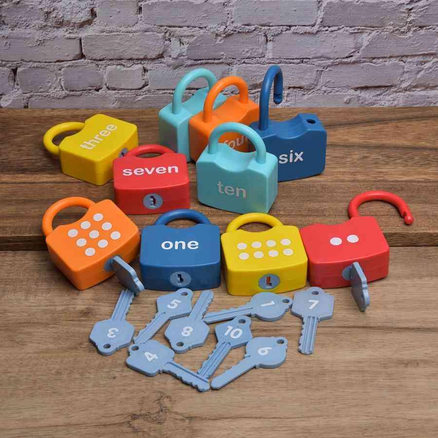 Plastic Montessori Locks Set Cognitive Numbers Locking Preschool, Learning Early Educational Fors / Kids
