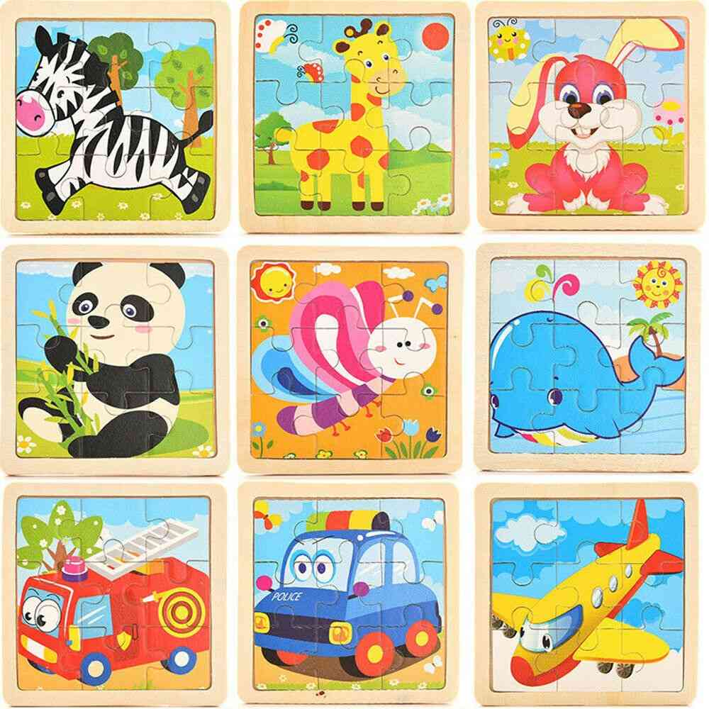 17 Styles Development Learning Color Shape, 3d Wooden Puzzle Cartoon Educational Toy