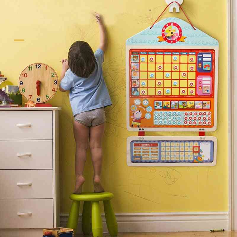 Wooden Magnetic Reward, Activity Responsibility Chart Calendar For  Kids