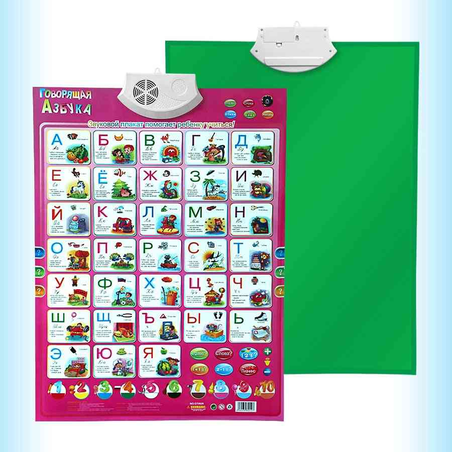 Russian Language Learning & Education Baby Toy Alphabet- Music  Machine Phonic Wall Hanging Chart Talking Poster