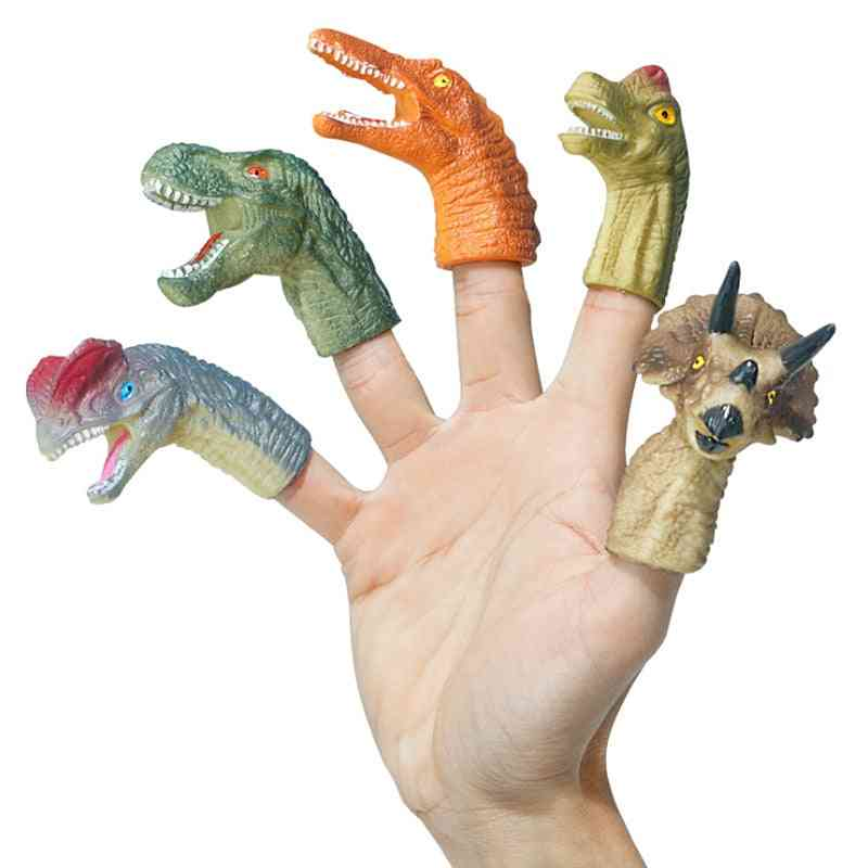 5pcs Mini Cartoon Realistic Dragon Dinosaur Finger Puppets Set Role Playing, Tell Story Prop For