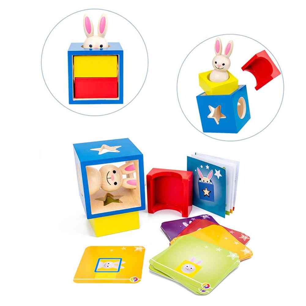Wooden Rabbit Magic Box With Secret Bunny Boo Hide And Seek Magic Game Brain Teaser Kids Wood Toy (as Shown)