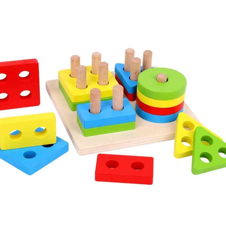 Wooden Geometric Sorting Board Montessori - Educational Stack Building Puzzle For Child