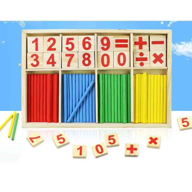 Digital Stick Teaching Aid Mathematics Enlightenment - Wooden Educational Toy For