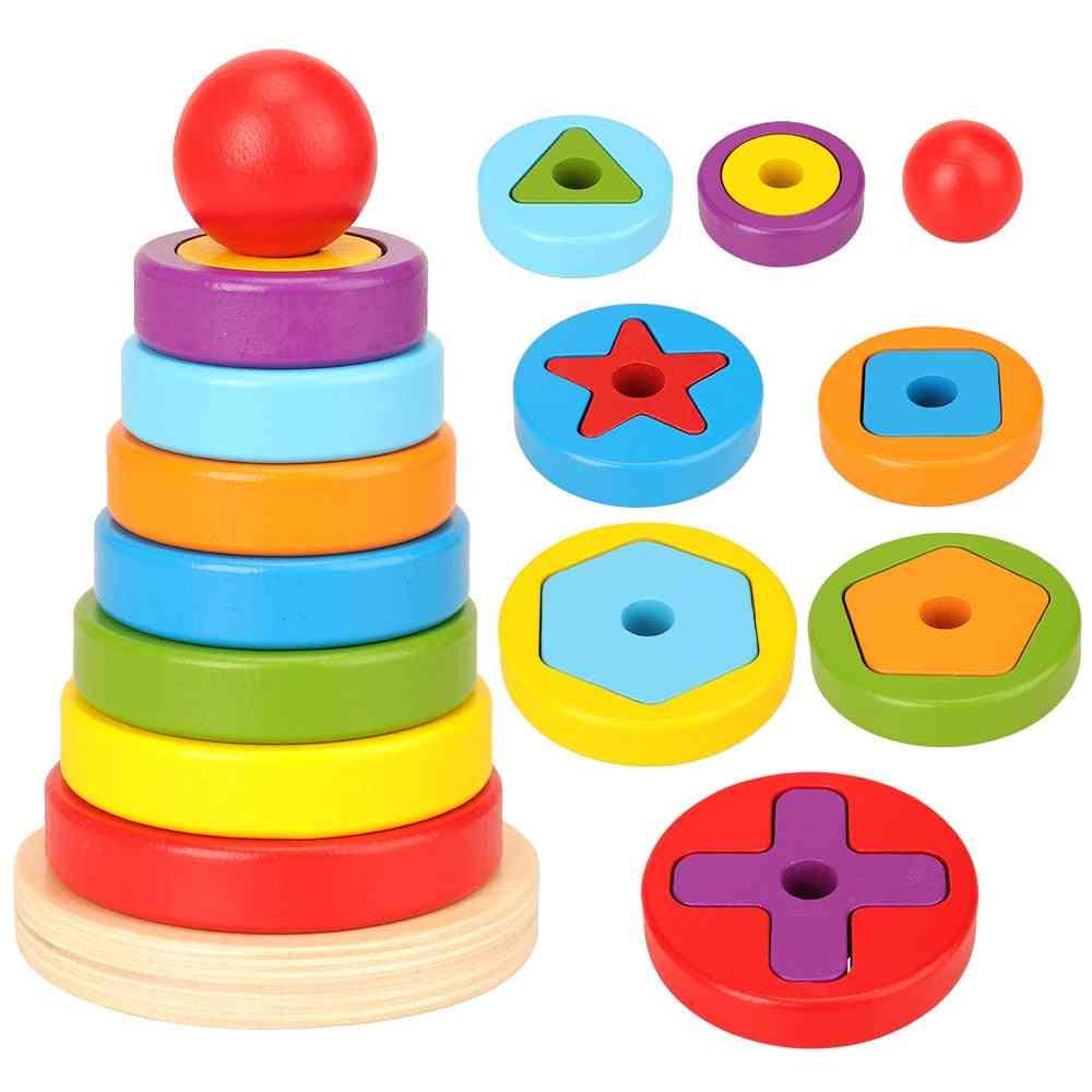 Rainbow Pyramid Nesting, Stacking Shape Puzzle Games Toy
