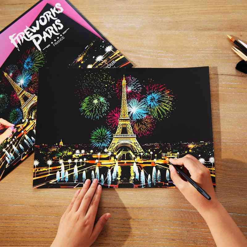 Magic Scratch Painting Paper With Drawing Stick - Educational Art Toy