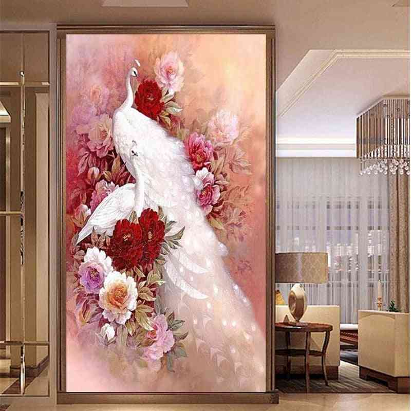 5d Full Diamond Painting -cross Stitch Peacock Peony Mosaic Making Diamond Embroidery Without Frame