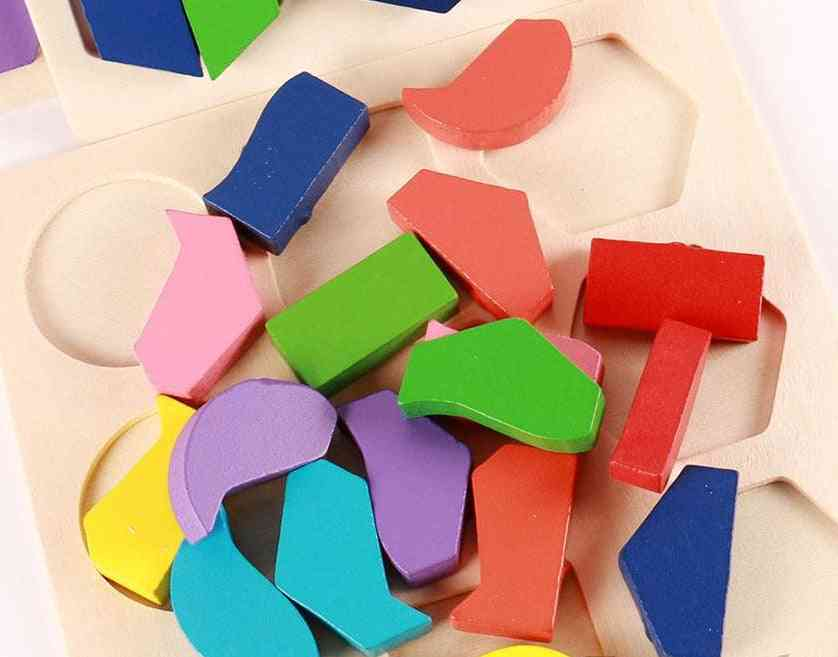 Geometric Shape And Color Matching-wooden 3d Puzzles For