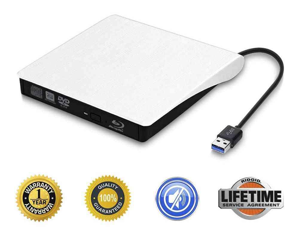 Usb 3.0 Drive Bd-rom Cd/dvd Rw Burner Writer Optical- External  Player For Computer