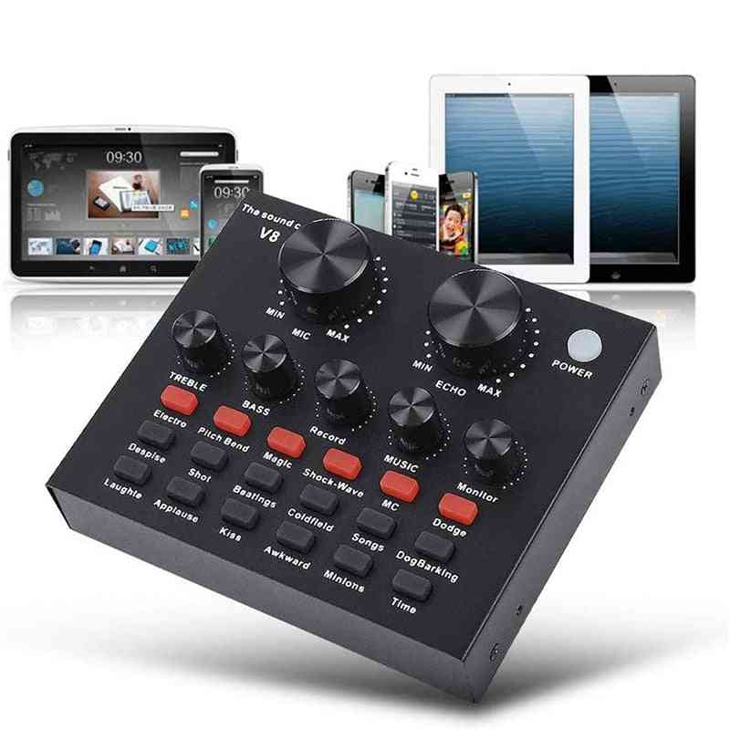 Voice Changer Sound Card Usb -headset Microphone And Webcast Live With Electric Sounds Broadcast