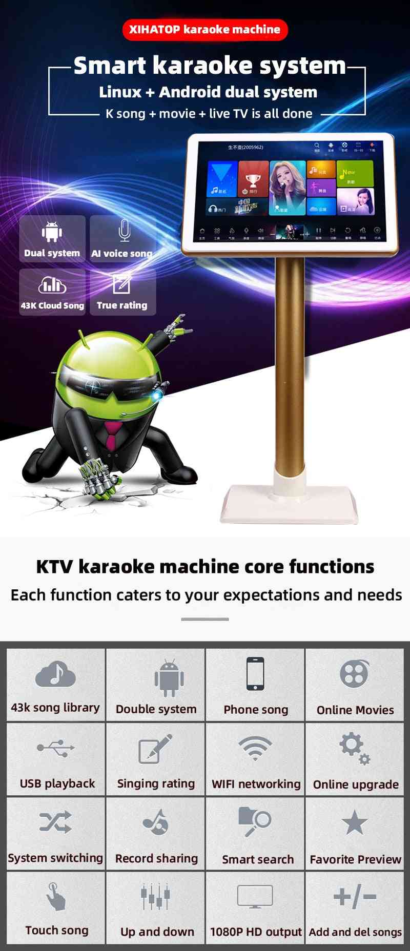 ,home Ktv Sing Karaoke -player Machine Android With 3tb Hdd 60k Songs,with Touch Screen