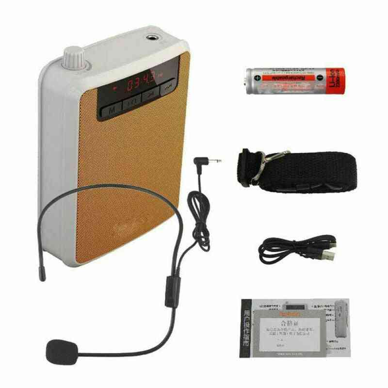 Portable Voice Amplifier, Megaphone Booster, Wired Microphone, Loudspeaker, Fm Radio, Mp3