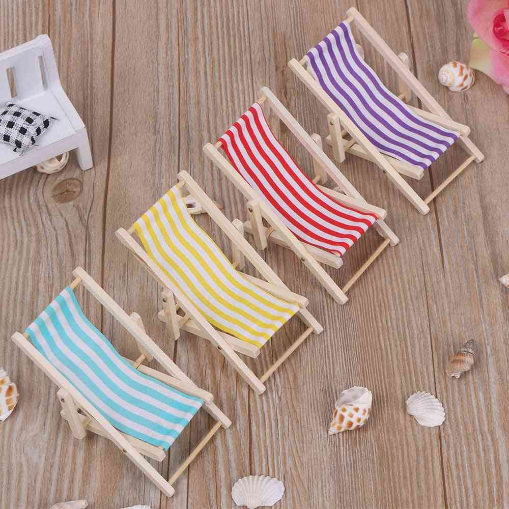Wooden Lounge Chair Striped For Dollhouse Miniature Furniture