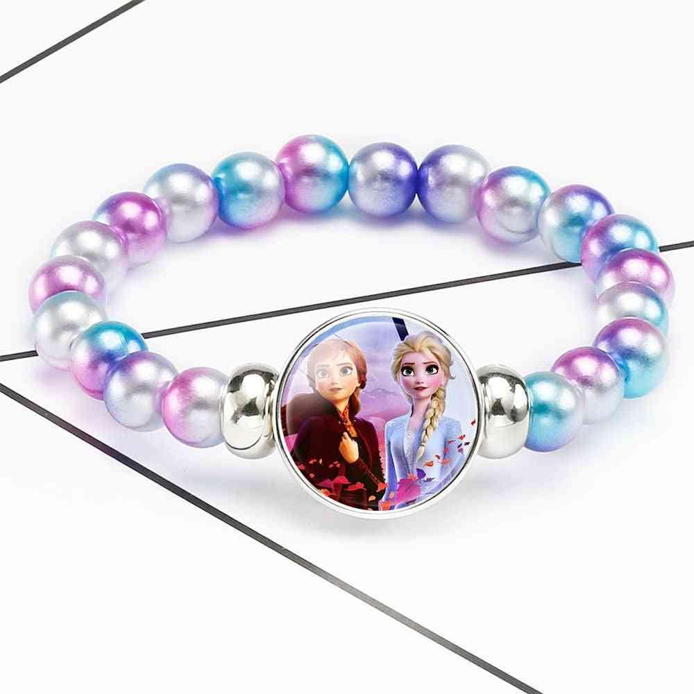 Elsa Anna Princess Printed-pearl Bracelets For