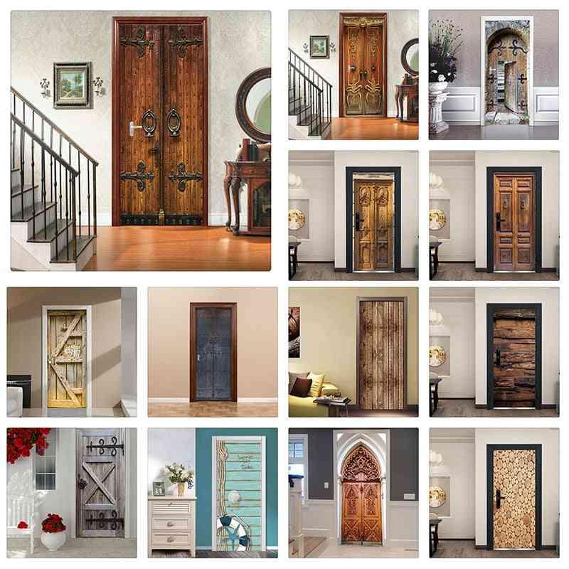 Creative 3d Door Sticker - Home Door Design Wallpaper Sticker