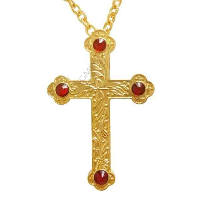 Cross Orthodox Jesus Pendants Gold Plated - Chain Necklace, Religious