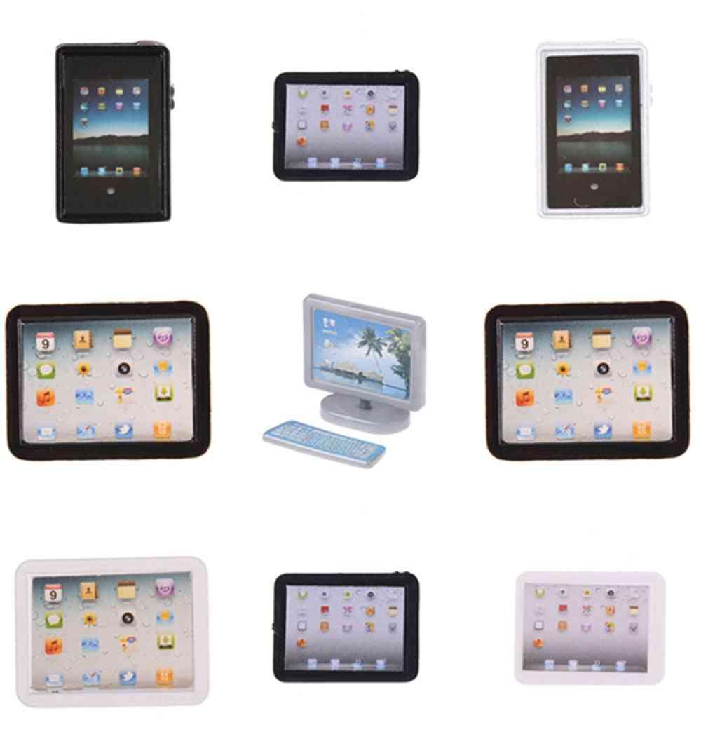 1/12 Dollhouse Miniature Accessories- Mini Computer Model Simulation Tablet Pc, Decoration Furniture