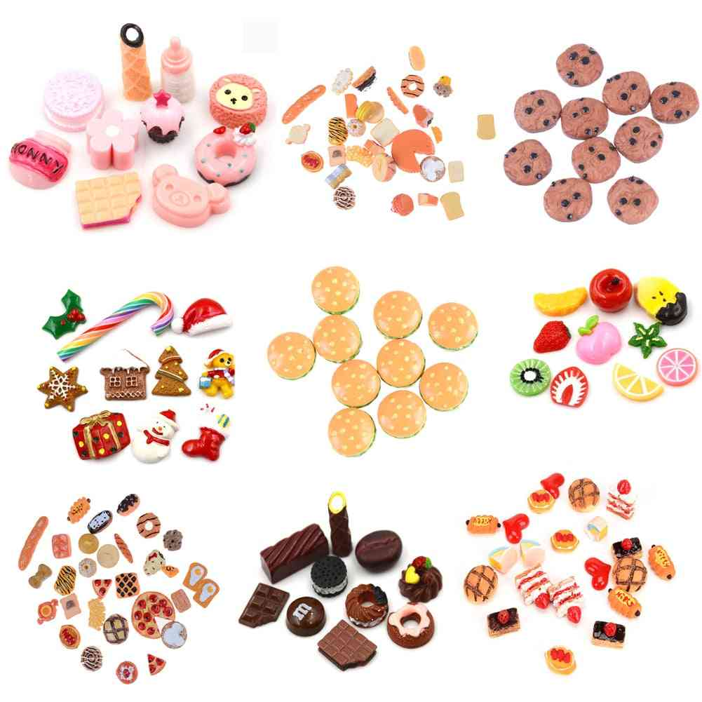 Cute Mini Food Design Play Toy- Cake, Candy ,fruit, Hamburg, Biscuit, Donuts Miniature For Dolls House Kitchen