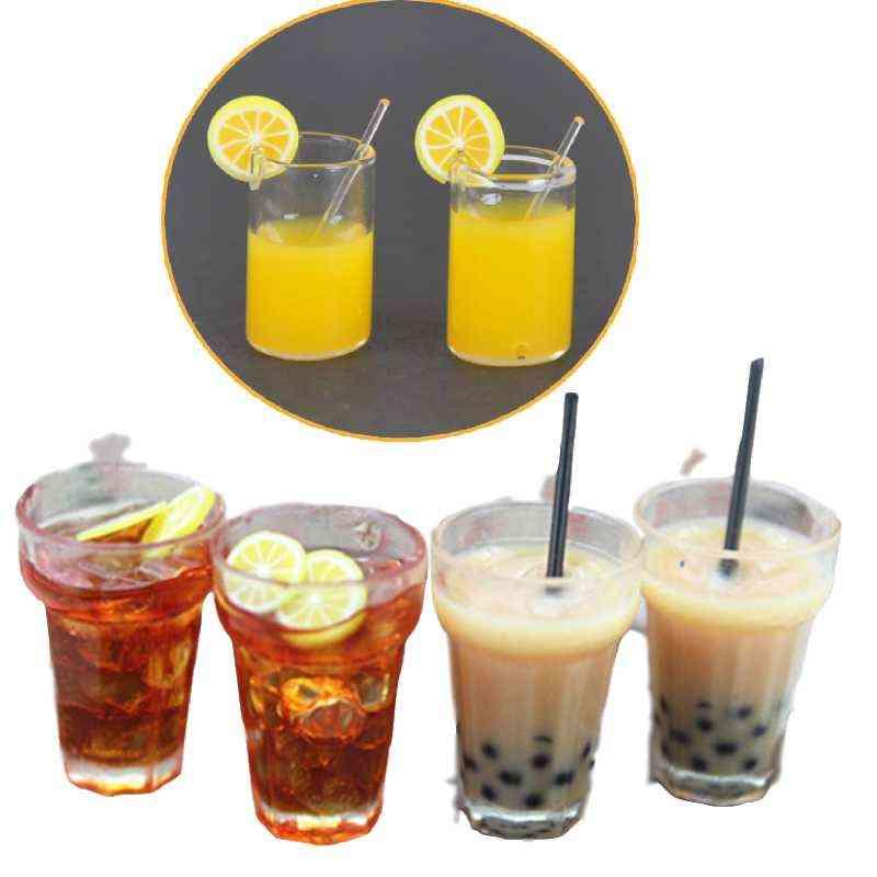 2pcs 1:12 Resin Dollhouse Mini Lemon Milk Tea Water Cup Miniature Dollhouse Accessories Cups Toy Mini Decoration