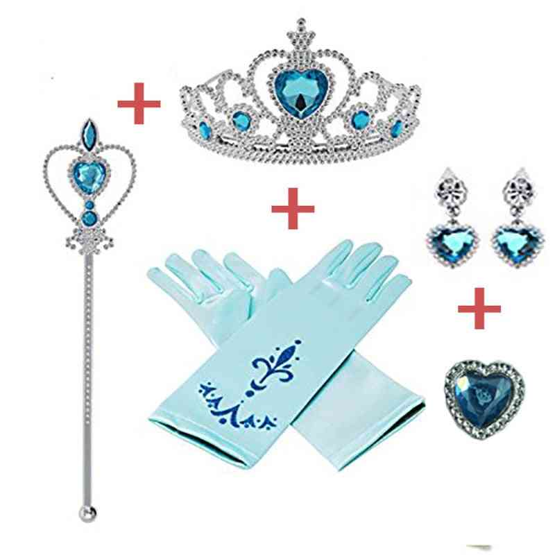 5pcs/lot Disney Princess Beauty Fashion Pretend Play- Frozen Accessories Love Sticky Diamond Crown Magic Bar Crown (blue)