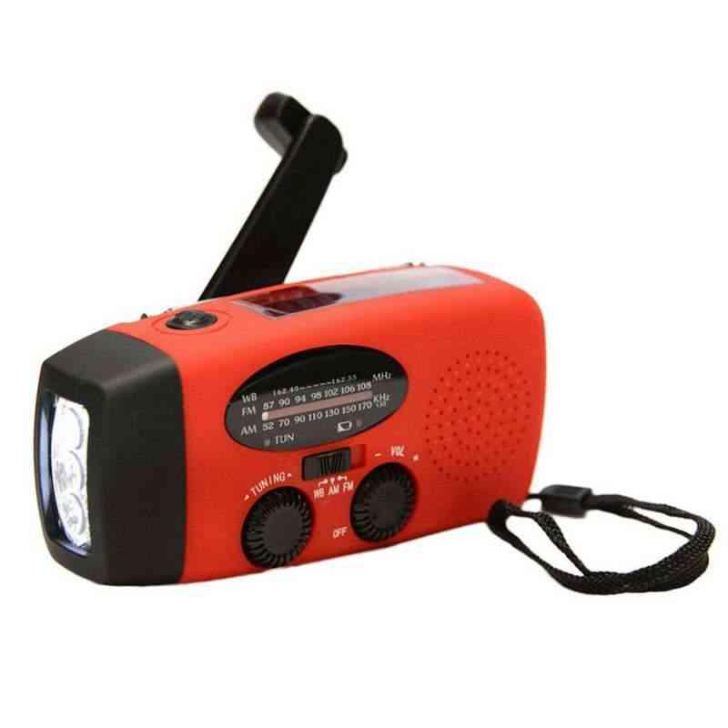 1000mah Solar Emergency Radio - Am,fm,wb Weather Radio, Hand Crank Radio With 3 Led Flashlight, 1000 Mah As A Phone Power Bank