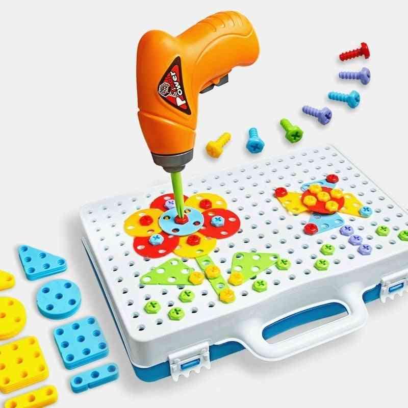 Drill Puzzle Educational, Diy Screw Group, Kidstool Kit Plastic Boy Jigsaw Mosaic Design Building Toy