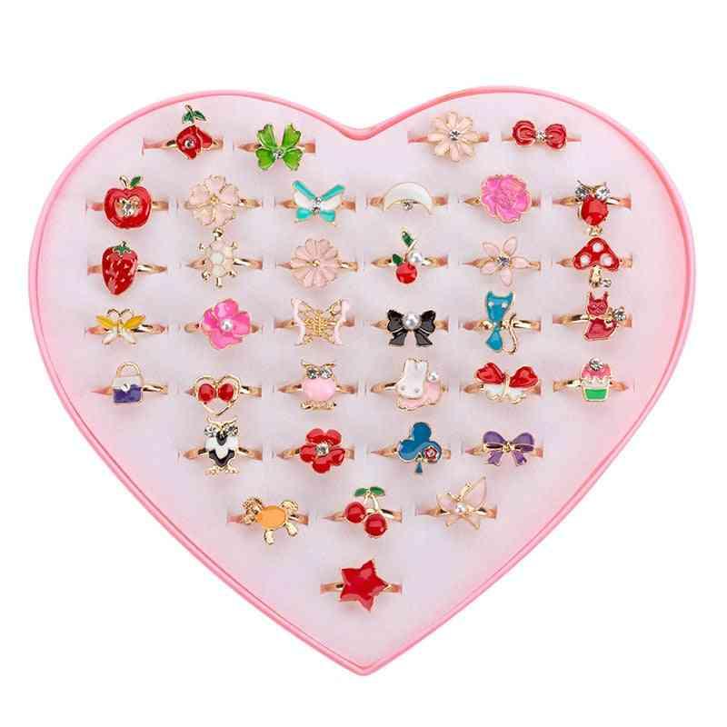 6 Pcs Sweet Cute Adjustable Rings For- Pretend Play Makeup, Cartoon, Crystal, Jewelry Alloy, Animal Enamel Ring (6pcs Random)