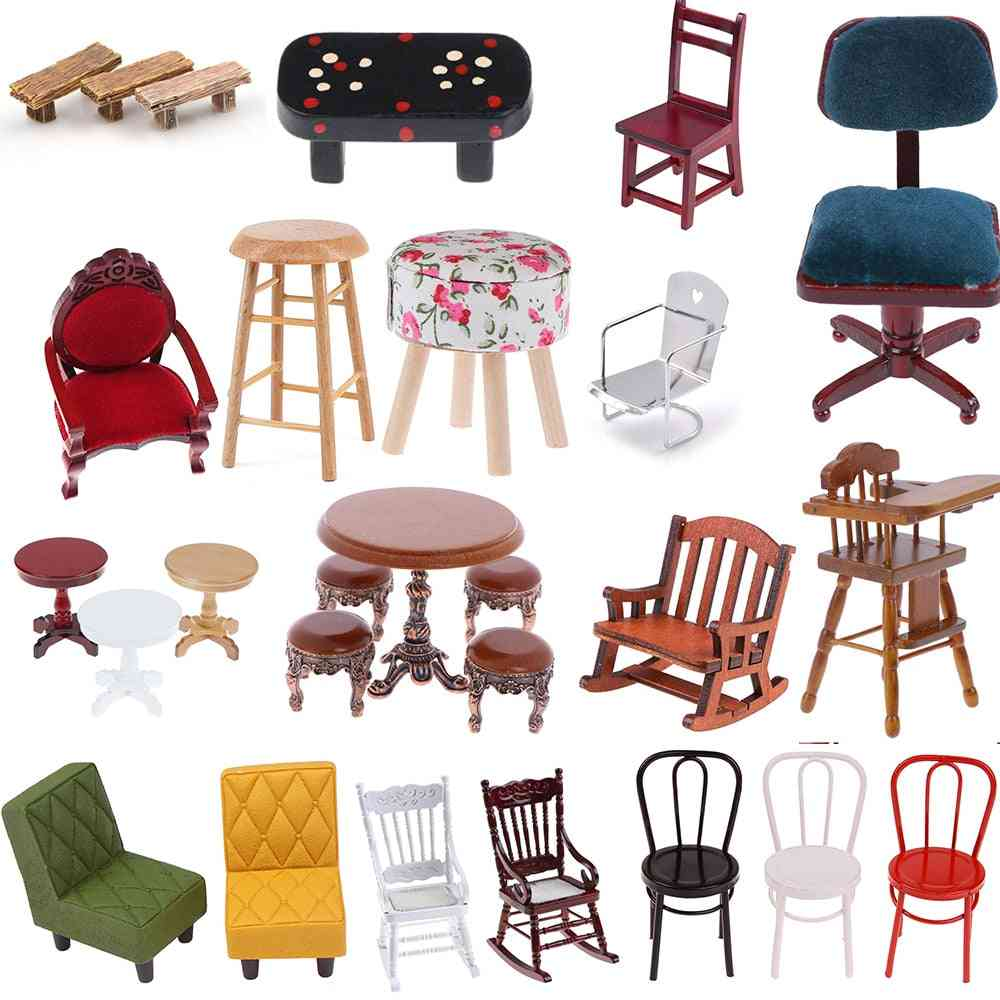 Simulation Mini Sofa And Stool Chair Furniture Model For Doll House Decorations