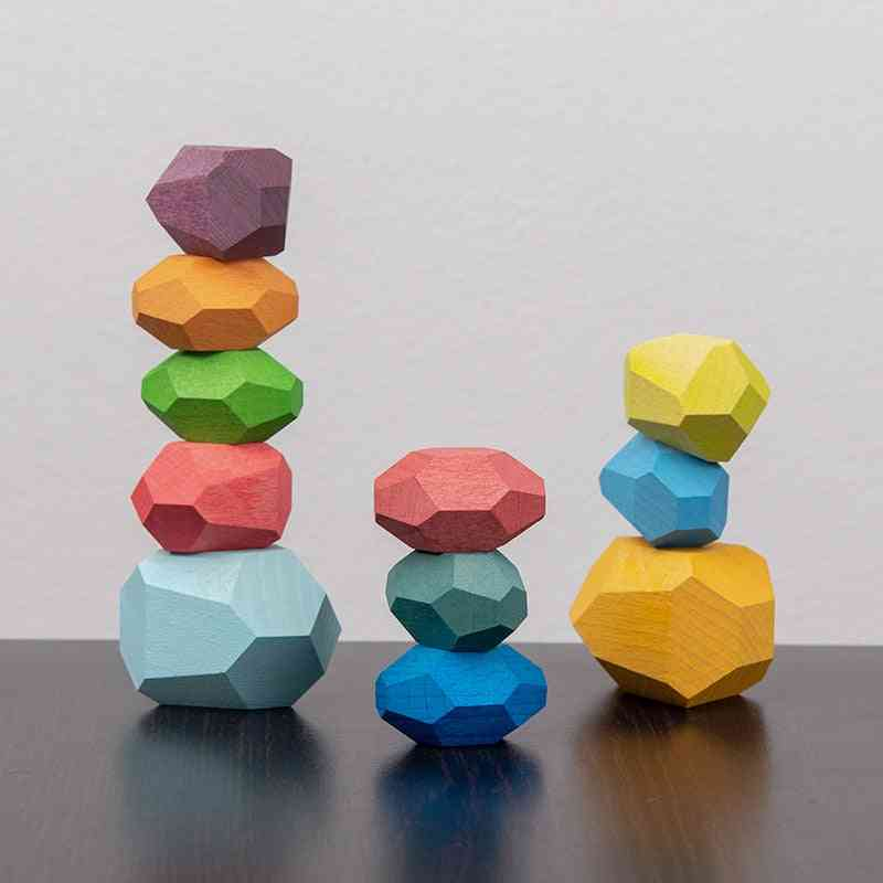 Rainbow Wooden Stone-stacking Blocks, Creative Educational For Kids