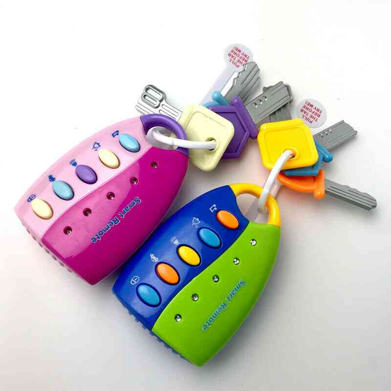 Colorful Flash Sounds Remote Car Voices Key Pretend Play, Baby Musical Car Key Toy