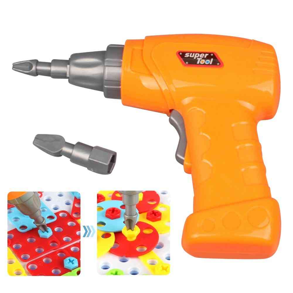 Kid Simulation Electric Drill Maintenance Repair Tool Toy With 2pcs Tips For- Pretend Play Disassembly Building Game