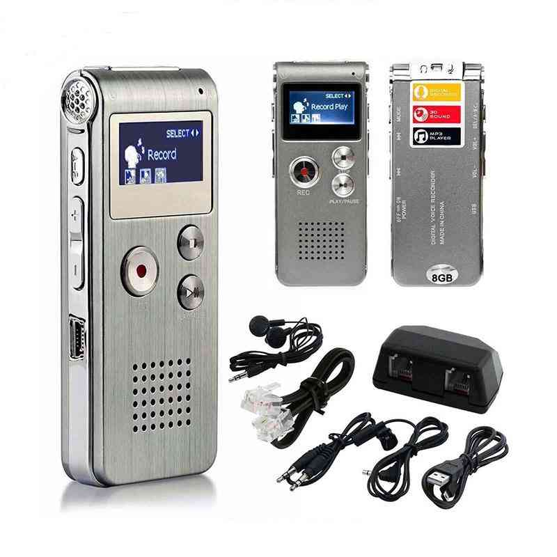 Lcd Screen 8gb Digital Sound Audio Recorder Dictaphone, Mp3 Player, Voice Recorder