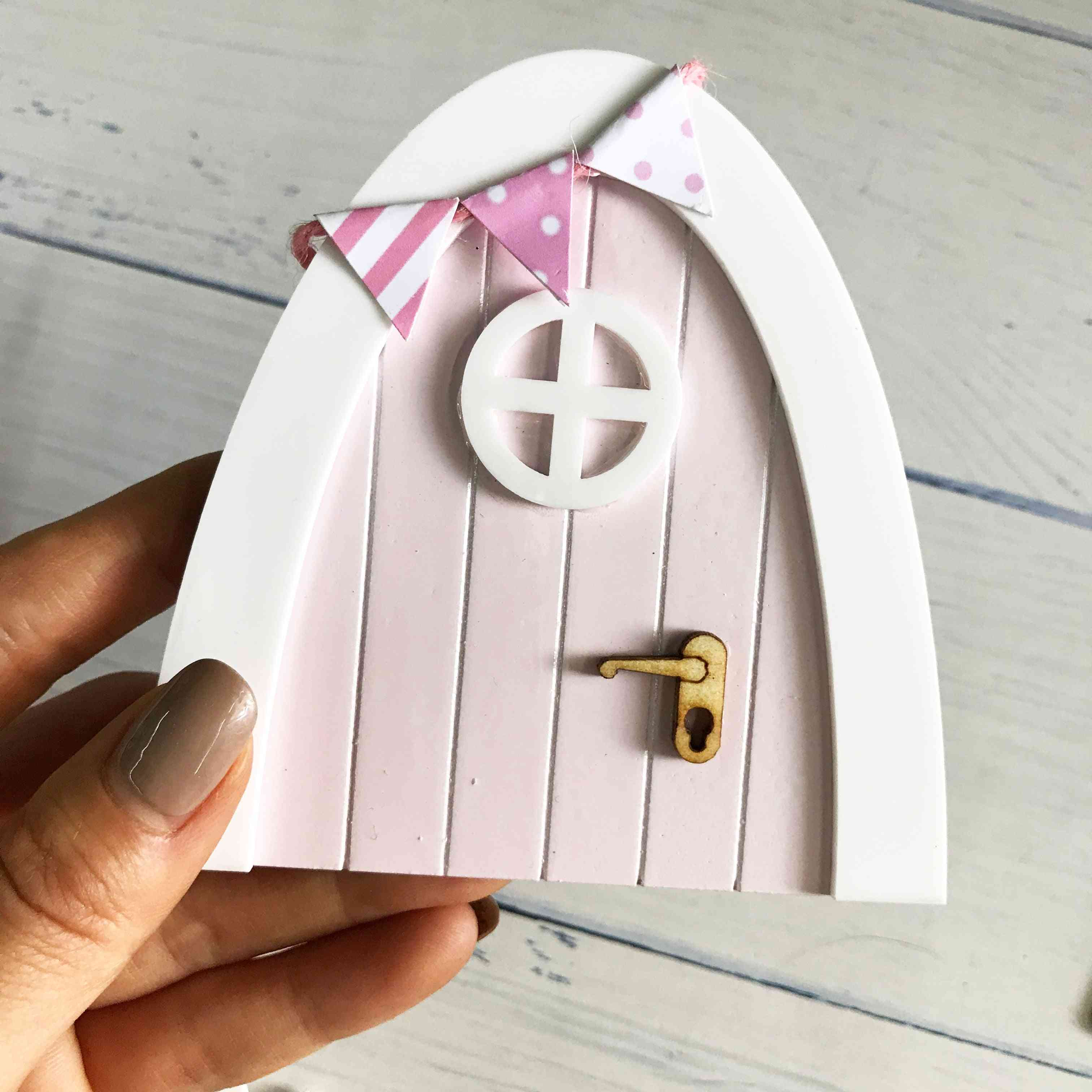 Hand Made, Mini Wooden Fairy Door And Sign Post